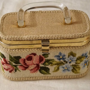 Vintage Rose Floral Needlepoint Box Purse Tote